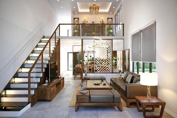Thiết kế nhà 1 trệt 1 lửng liên thông giữa phòng khách và bếp, tạo không gian thông thoáng, dễ chịu