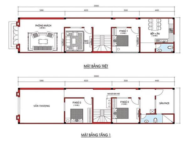 Bản vẽ thiết kế mẫu nhà 3 phòng ngủ