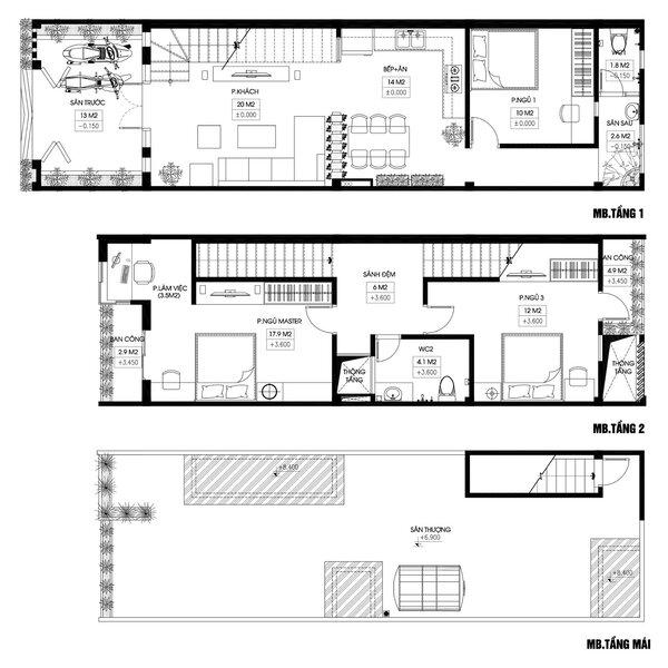 Bản vẽ mẫu nhà đẹp 2 tầng 5×20 (m) phong cách hiện đại