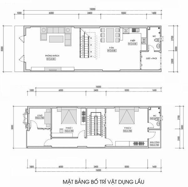 Bản vẽ mẫu nhà đẹp 2 tầng 5×20 (m)