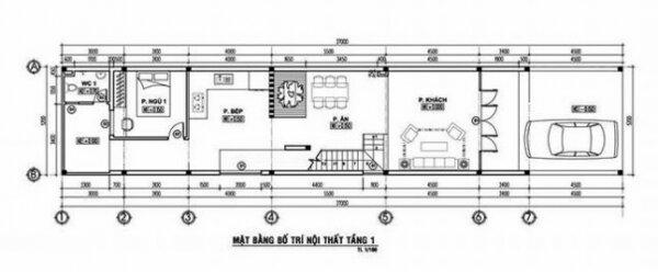 Bản vẽ bố trí nội thất tầng 1 của mẫu nhà đẹp 2 tầng 5×20 (m) với 4 phòng ngủ