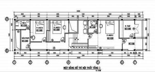 Bản vẽ bố trí nội thất tầng 2 của mẫu nhà đẹp 2 tầng 5×20 (m) 4 phòng ngủ