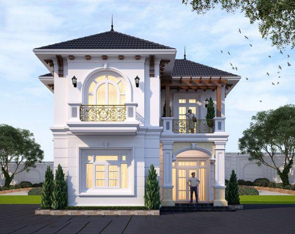 Hình 4. Mẫu nhà 2 tầng mái Thái đẹp, sang trọng
