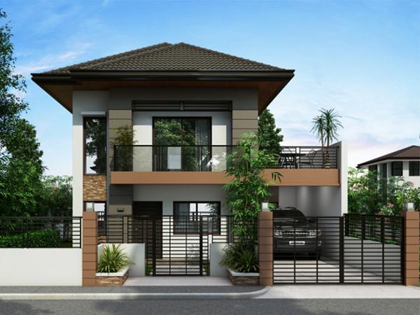 Hình 5. Mẫu nhà 2 tầng mái Thái đẹp, sang trọng
