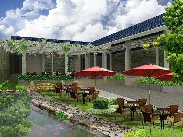 Phối cảnh khách sạn với sân vườn, cà phê thoáng đãng